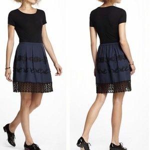 Anthropologie Flyaway Embroidered Dress Navy Black